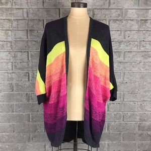 AE Colorful striped open front sweater cardigan L